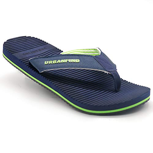 URBANFIND Men's Classic Flip Flops Summer Light Weight Shower Sandals Acupressure TPR Non-Slip Slippers Blue Style2, 8 D(M) US