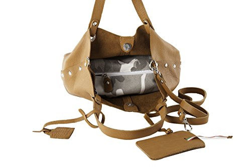 Anna Cecere - Borsa Shopper in vera pelle con tracolla - Made in Italy - Rosa