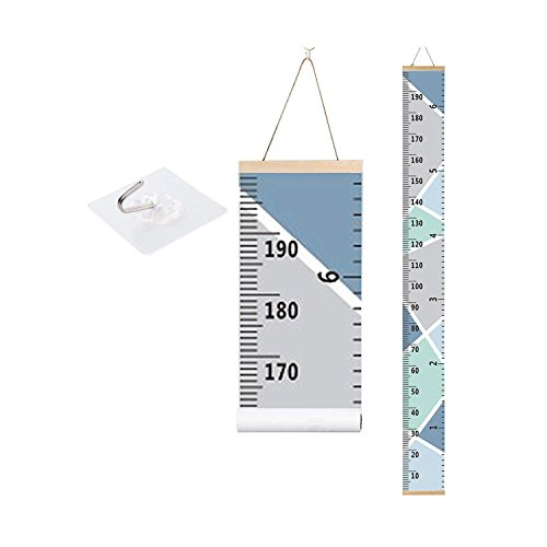 bingolar Kids Growth Chart, Children Height Chart Growth Wall Chart Height Wall Chart Art Hanging Rulers for Kids Bedroom Nursery Wall Decor Removable Height and Growth Chart(Blue 7.9 x 79in)]()