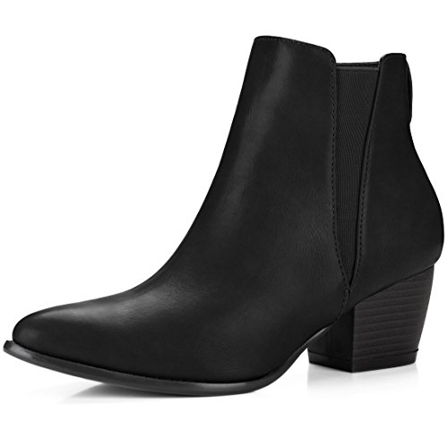Allegra Boot (Allegra K Women's Pointed Toe Stacked Heel Ankle Chelsea Boots (Size US 9.5) Black)
