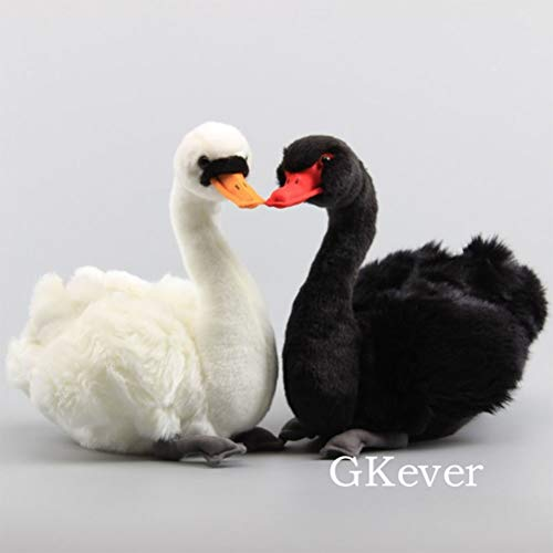 LQT Ltd 1pc Stuffed Animals Simulation Animal Swan Plush Toy Lifelike Swan RealLife Black White Swan Peluche Dolls Kids Soft Dolls 25 cm 10''