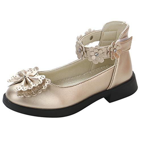 Tantisy ♣↭♣ Toddler/Little Kids Camila Princess Uniform School Ballet Flower Mary Jane Girls Flats Dress Shoes Gold ()