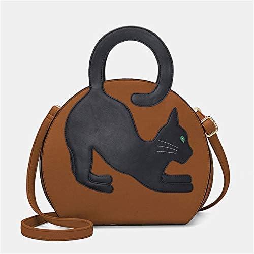 女性の猫柄伸縮ハンドバッグクロスボディバッグファッションバッグ 実用的 (色 : Brown)