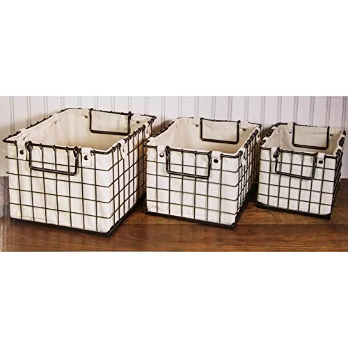 Giftburg Decorative 3 Piece Canvas Lined Brushed Copper Wire Basket Set for Storage and Organization