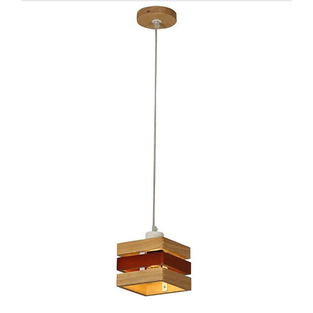 Chandelier Creative Korean log Nordic wood living room dining Color : Single head (small)