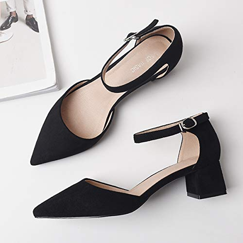 High Single Shoes With Autumn Mouth Suede With Buckle Female Thick Women'S High Heels Pointed Shallow Shoes Buckle Yukun Word Black heels d0SwqdC