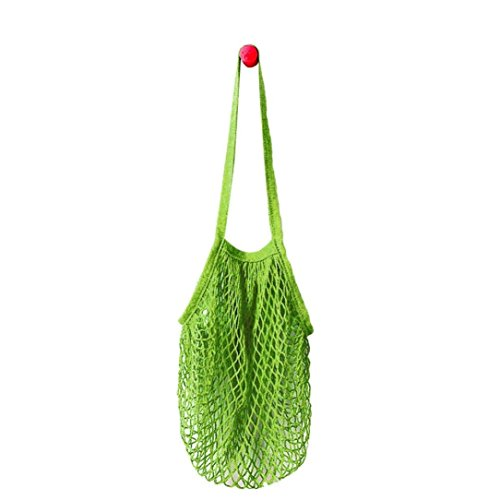 Inverlee Mesh Net Turtle Bag String Shopping Bag Reusable Fruit Storage Handbag Totes (Light Green)