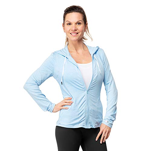 Women's Full Zip Stretch Hoodie - Spandex Activewear with UPF 50 UV Sun Protection - Lighweight Hooded Sweatshirt for The Gym, Yoga and Outdoors Blue (Hooded Lycra)