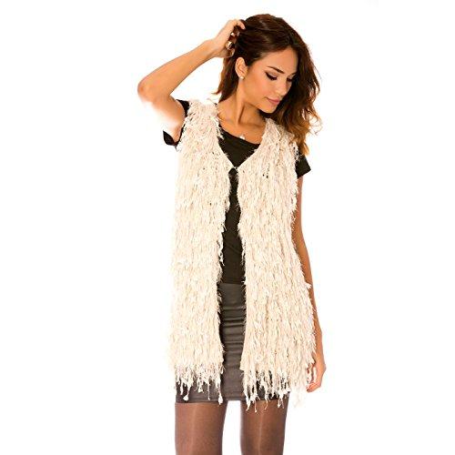 Miss Wear Line Gilet style peau de mouton beige