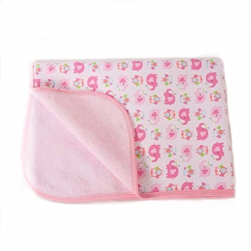 Portable Changing Pad Waterproof Diaper Change mat Large Size Multi-Function [Home & Travel] Any Places Bed Play Stroller Crib Car Mattress Pad Cover (Pink Elephant, XL (27.56 x 47.2 Inch))