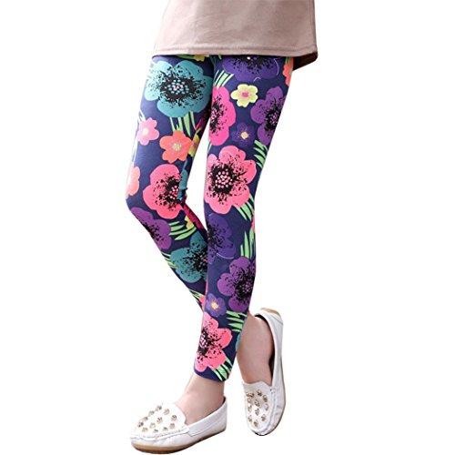 Orangeskycn Pants Children Trousers New Printing Leggings Flower Kids Classic baby Girls Pencil Pants (6-7T, Dark (80's Costume Ideas With Leggings)