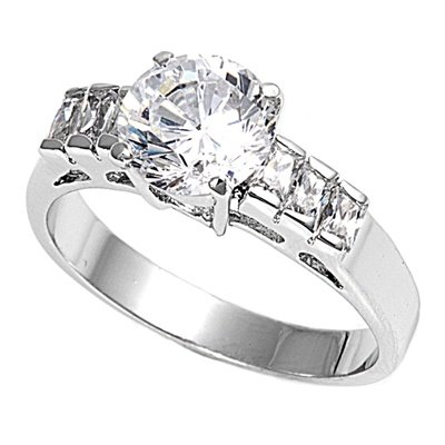 Pro Jewelry .925 Sterling Silver Clear Round Cut w/ Baguette Side Engagement CZ Ring All Sizes Available (6) (Sides Baguette Ring)