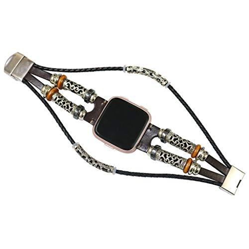 (Renzhe for Fitbit Versa/Versa Lite, Vintage Leather Wristband Band Strap Bracelet Watch Band)