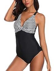 AOQUSSQOA Damen Einteileger Badeanzug Große Größe Bademode Figurformend Bauchweg Bikini Leopardenmuster Strandmode