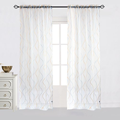 [Cheery Home Wave Sheer Curtains Voile Panels Drapes Rod Pocket for Living Room,Width 52 Inch By 84 Inch Length,Blue and Gold] (Stripe Rod Pocket Panel)