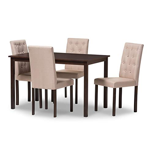 (Simple Interior 5 Piece Dining Set - Wooden Table with 4 Upholstered Chairs - Kitchen Breakfast Nook Dinette Furniture)