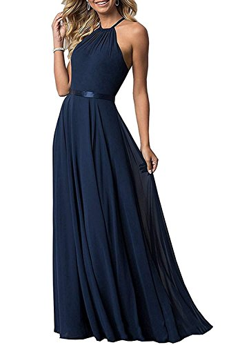 NewFex Halter Bridesmaid Dress 2019 Long Chiffon Women Formal Backless Simple Prom Party Gown Navy Blue 12 - Corset Long Gown