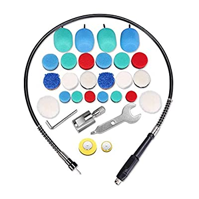 "SPTA Mini Detail Polisher Shaft, Car Foam Drill Polishing Pad Kit with 5/8"" Thread, Used on Rotary Tools/Polisher, Electric Drill for Metal Aluminum, Stainless Steel, Chrome"