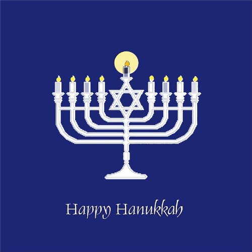Happy Hanukkah Menorah & Star of David - Etched Vinyl Stained Glass Film, Static Cling Window Decal -