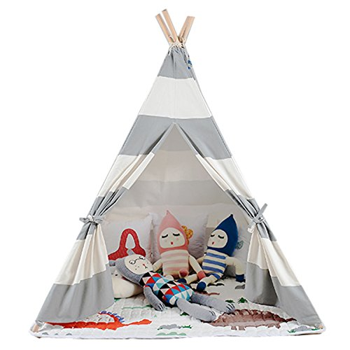 White and grey color New design children game room play tent indian Teepee with mat by FREE LOVE (Image #2)