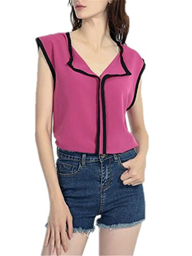 Haut Elgant Tops Rosy Dcontracte Aoliait sans Mousseline Manches Femme Tunique T Tendance en en Loose Chemises Shirt Blouse t pZ6Cwx