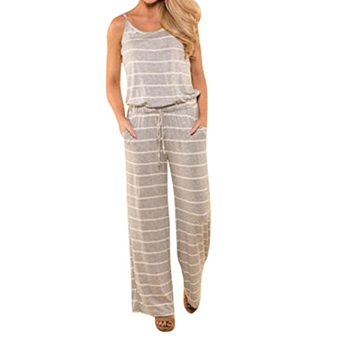 INIBUD Jumpsuits for Women Cotton Casual Loose Spaghetti Straps Wide Leg Pockets Summer Striped (Gray, S) ()