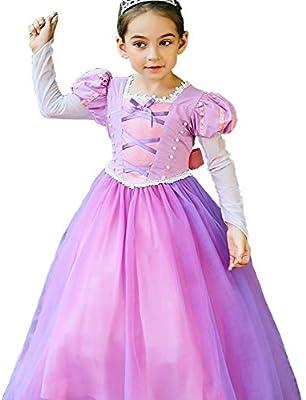 yeesn Disfraz de la Princesa Rapunzel para niña Manga Larga ...