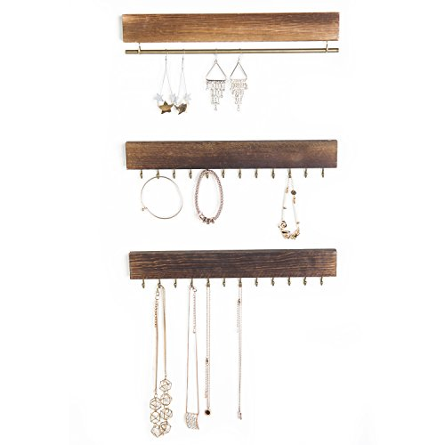 Set of 3 Rustic Wood & Gold Tone Metal Jewelry Organizers / Necklace & Bracelet Hook Racks / Earring Bar by MyGift (Image #2)
