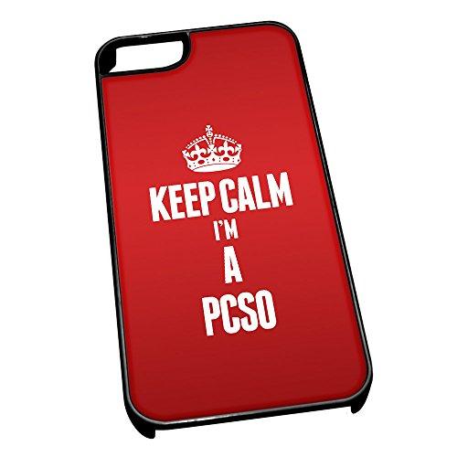Nero cover per iPhone 5/5S 2644Red Keep Calm I m A Pcso