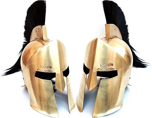 Calvin Medieval Ancient Helmet | Costume Armour Greek Corinthian Spartan Movie Helmet | Medieval Helmet | Mask Party Helmet | 300 Helmet | Spartan Helmet | Sparta Helmet | Fighter Helmet Black ()