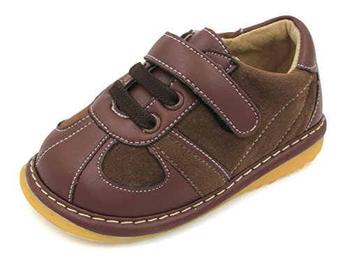 Brown Suede Toddler Boy Squeaky Shoes (8)