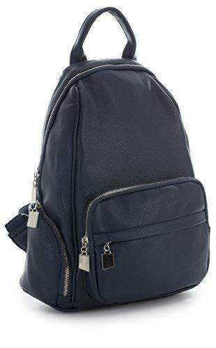Medium Multi Office Leather Unisex Pockets Designer Design Bag Rucksack Vegan Navy Backpack BHSL Size 2 Work IHUqI