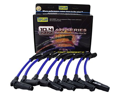 Taylor Cable 79686 409 Pro Race Ignition Wire Set Race Fit Spiral Wound Core 10.4mm Dia. Blue 409 Pro Race Ignition Wire Set