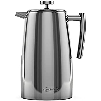 LeMeilleur French Press Coffee Maker - Shatterproof - Quality Anti Rust 18/10 Stainless Steel Coffee Press - Double Wall Double Screen - 34oz 1L