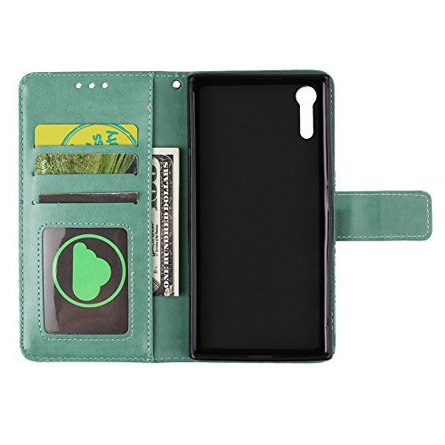 Hülle für Sony Xperia XZ,Hülle für Sony Xperia XZ Retro Blume Frauen,BtDuck Ultra Slim Tasche Vintage Brieftasche Handyhülle Ledertasche Flip Cover Schutzhülle für Sony Xperia XZ Cover mit Magnetversc Xperia Xz -Grün