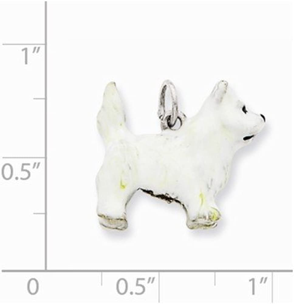 Silver Yellow Plated Terrier Dog Charm 17mm