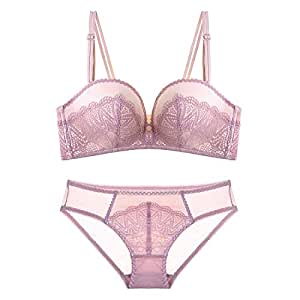 Treasure hunt Lace Embroidered Pattern Comfortably Gathered Sexy Bra Set, Sponge, no Steel Ring, Adjustable Chest Type, Four Rows of Three Buckles. (Color : Pink, Size : 85A=36A=80A)