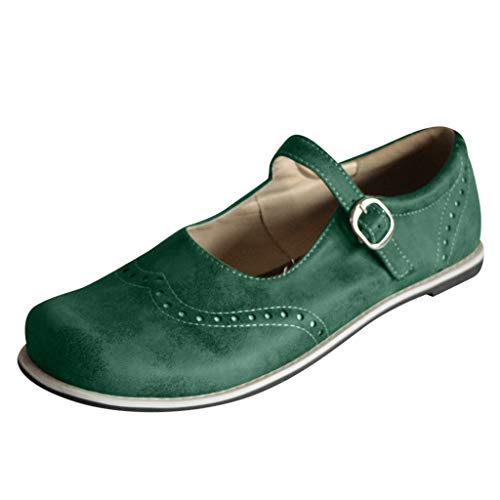 Women's Buckle Ankle Strap Slip-on Comfort Mary Jane Flat Roman Shoes by Nevera Army Green -