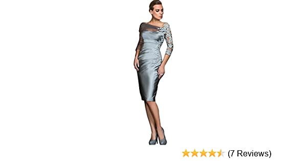 8541319415c Newdeve Charcoal Grey Mother of The Bride Dresses Knee Length with Sleeves  (2) at Amazon Women s Clothing store