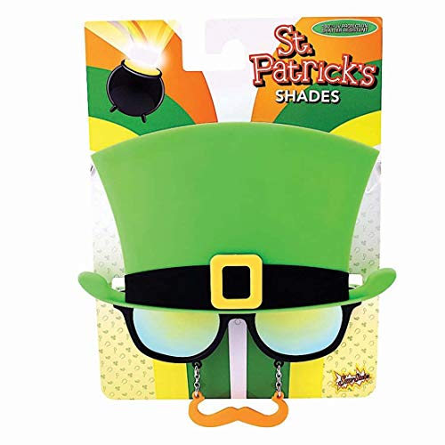 Costume Sunglasses St. Patty's Day Green Top Hat Sun-Staches Party Favors UV400