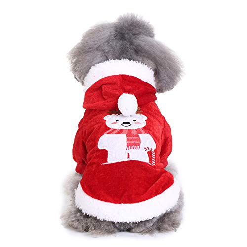 (Mikey Store Pet Dog T Shirt Comfortable Christmas Bear Clothes Dog Coat Costume Puppy Apparel (Red,)