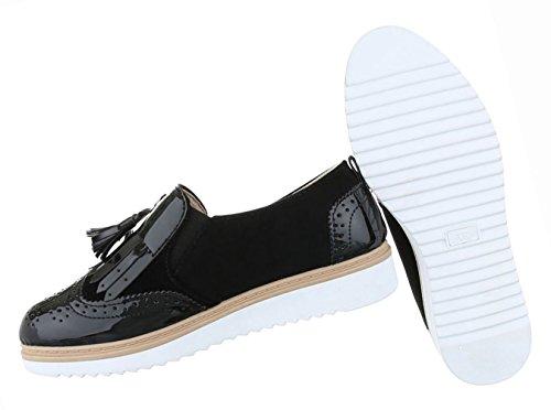 Damen Schuhe Halbschuhe Bequeme Schwarz Schwarz