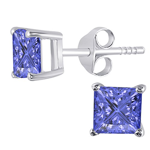 Womens Fashion Jewelry14K Gold Rhodium Plated Alloy White/Yellow/Rose/Black Alloy 1.00CW Highest Quality Princess Cut Created Tanzanite Stud (Princess Cut Tanzanite Earring)