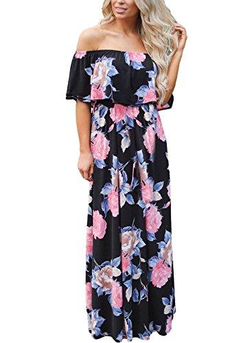 (MIDOSOO Womens Ruffle Off The Shoulder Floral Print Boho High Waist Slit Long Maxi Dress with Pockets P-Black L)