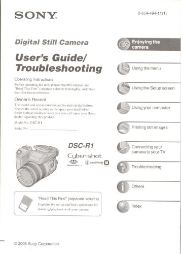 Sony Cyber-Shot DSC-R1 Digital Camera User's Guide/Troubleshooting Manual (Dsc R1 Cyber Shot)