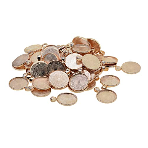 Prettyia 50 Piece Rose Gold Round Charms Pendants Blanks Base Photo Cameo Bezel Settings Tray Jewelry Findings for DIY Necklace Bracelet 25mm ()