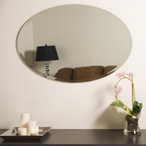 Exceptionnel Amazon.com: Decor Wonderland Helmer Oval Bevel Frameless Wall Mirror: Home  U0026 Kitchen