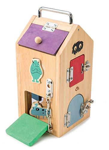 Tender Leaf Toys Wooden Monster Lock Box - 8 Different Doors with Various Lock Mechanisms Helps Develop Probelm Solving Skills - 3 +