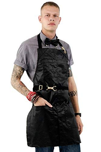 Under NY Sky No-Tie Black Apron – Coated Twill with Golden Hardware, Leather Reinforcement, Split-Leg, Adjustable for Men and Women – Pro Barber, Tattoo, Bartender, Hair Stylist Aprons – Small Size by Under NY Sky (Image #1)