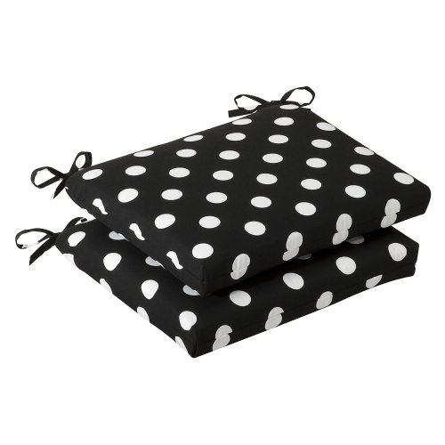 Pillow Perfect Indoor/Outdoor Black/White Polka Dot Seat Cushion, Squared, 2-Pack (Outdoor White Dining Chairs compare prices)
